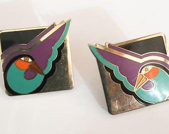 Laurel Burch Earrings, Enamel, Geese, Birds, Vintage Jewelry, ETSY SALE
