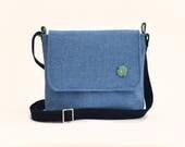 Harris Tweed Messenger Bag  Blue Harris Tweed Handbag  Green and Navy Droplet Lining  Adjustable Strap