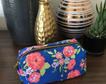 Royal Blue Floral Small Box Pouch