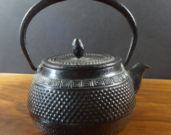 Vintage 1960s Japanese Tetsubin Cast Iron Small Black Hobnail Kettle