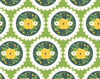 Doily on Green, Camelot Fabrics, Alisse Courter, fabric by the yard, yellow flowers, medallion fabric, summer fabric, buds, roses
