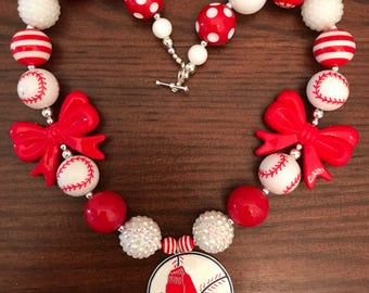Boston Red Sox MLB inspired Baseball Bubble Gum Necklace (Adult)
