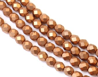 8mm Copper Czech Glass Bead 8 Inch Strand, 25 pieces