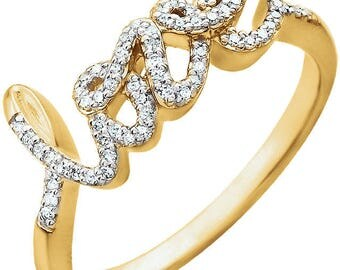 14K Yellow White Rose Gold 1/6 CTW Diamond Ring
