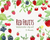 watercolor fruits, fruits clipart fruits clip art strawberry, blueberry, raspberry, watercolor clipart, berry watercolour, berry clipart