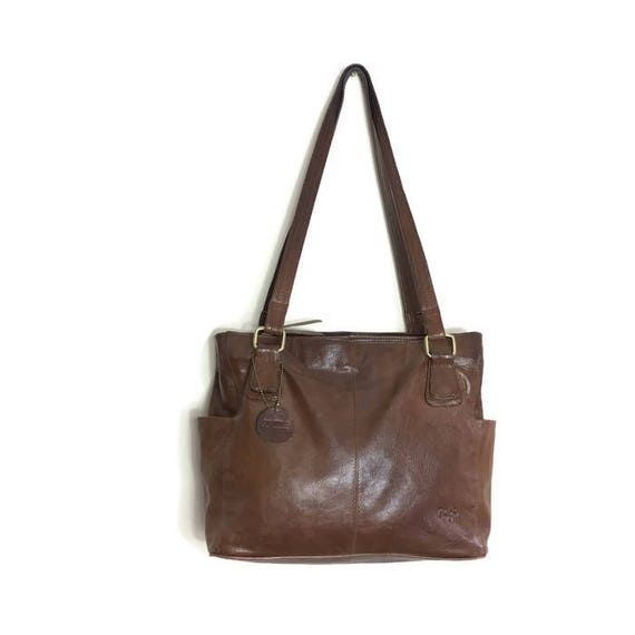 Large Brown leather handbag / vintage leather shouder bag / quailty dark brown leather purse / gigi leather bag / two handled shouder bag /