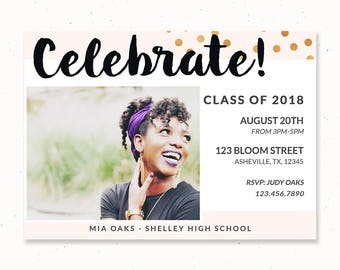 Celebrate Invitation, Gold Graduation Invitation, College Graduation Card, High School Graduation Announcement, Confetti Invitation, m205