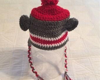 Crocheted Sock Monkey Baby Hat