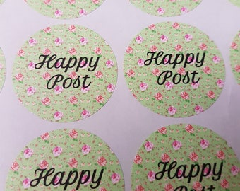 Happy Post stickers x 35 37mm Matt finish Cute way to complete your personal or handmade post