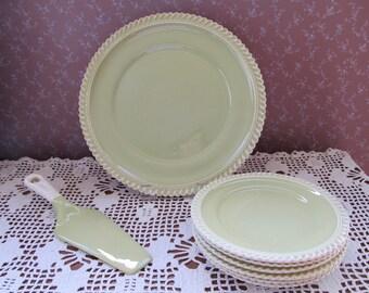 Harker Pottery Chartreuse Royal Gadroon Dessert Set
