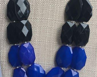 Black Blue Statement Necklace, Blue Black Bib Necklace, Layered Necklace Multi-Layered Statement Jewelry, Bridesmaid Necklace Thin Blue Line