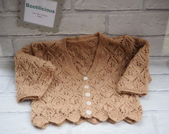 knitted baby cardigan, knitted baby, hand knitted baby cardigan, girl's baby cardigan, patterned baby cardigan, knitted cardigan.