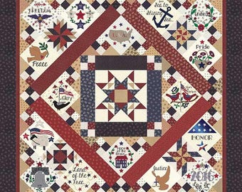 Primitive Gatherings Liberty Gatherings BOM Block of the Month Quilt KIT Plus Pattern 76 x 76