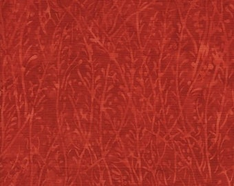 Island Batik Florida Oranges Grass Red Orange Leaf Batik Fabric 121516237 BTY