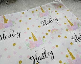 Personalized unicorn rainbow swaddle blanket for newborn or hospital pictures: baby personalized name newborn hospital gift baby