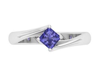 Tanzanite Ring, 14K White Gold, Princess Cut, Tanzanite Engagement Ring, December Birthstone Ring, Solitaire Ring, Anniversary/Wedding Ring