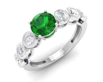 Natural Emerald With Diamond Engagement Ring | 14K White Gold Ring | Certified Emerald Ring | Round Emerald Rings | Emerald Anniversary Ring