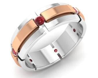 Ruby Men Ring, 14K White Gold, Men Engagement Ring, Two Tone Ring, Men Wedding Ring, Men Anniversary Ring, Natural Ruby Ring, Men Gold Ring