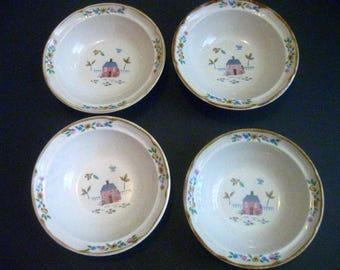 4 International China Heartland Cereal, Soup Stoneware Bowls, Japan