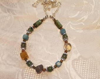 Gemstone Necklace 22 Inch Chain,Lobster Claw Clasps