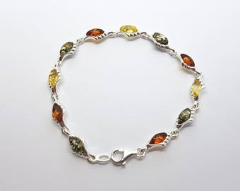 sterling silver and natural baltic amber bracelet