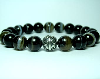 Mens Sardonyx Bracelet, Mens Beaded Bracelet, Mens Black Agate Bracelet, Mens Silver Bracelet, Gemstone Bracelet, Stretch Bracelet