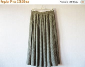 ON SALE Khaki Beige Pleated Skirt Floral Ditsy Print Maxi High Waisted Summer Skirt Made in UK Large Size