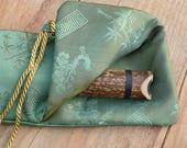 Silk Flute Bag-Padded & lined with a Vapor Barrier-Iridescent Leaf green/Jade color-for 18-20 inch flute, 1.6 shakuhachi flute bag