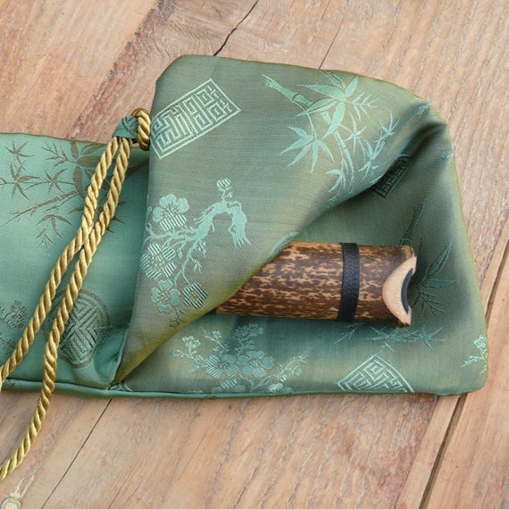 Silk Flute Bag-Padded & lined with a Vapor Barrier-Iridescent Leaf green/Jade color-for 18-20 inch flute, 1.6 shakuhachi flute bag