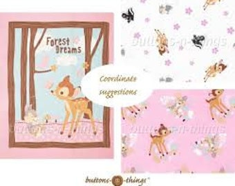 """Disney Bambi Forest Friends Panel or Coordinating Fabrics Your Choice  Cotton Fabric 43"""" wide"""