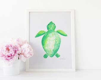 INSTANT DOWNLOAD, Watercolor Sea Turtle Print, Nursery Wall Art, Sea Turtle Art, Beach Nursery, Sea Turtle Nursery, Sea Turtle Decor