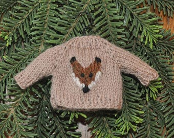 Fox Hand-Knit Sweater Ornament