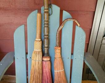 Three, 3, vintage handmade brooms