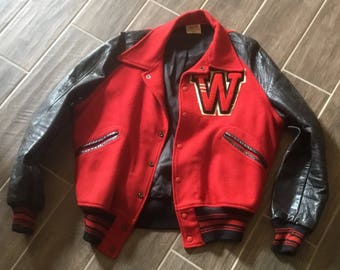 "Vintage ""W"" Red Wool, Black Leather Sleeves Lined Letter Jacket"