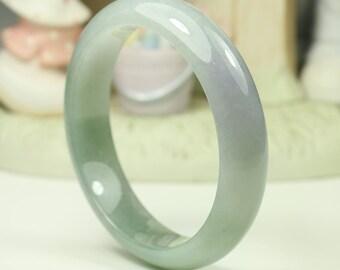 Jadeite Jade Bangle Bracelet - 60.19mm Bluish Green and Lavender