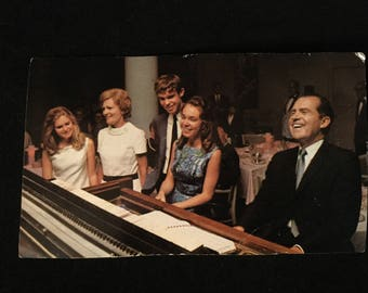 1968 Nixon- Agnew Campaign Postcard - Richard Nixon & Family Playing Piano - campaign autopen signed cards asking for support