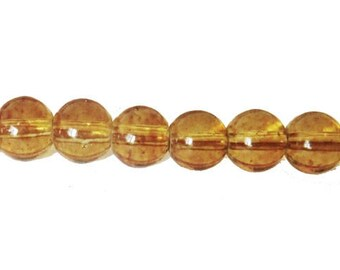 """10 x 8mm TABAC """"Speckled"""" glass round beads"""