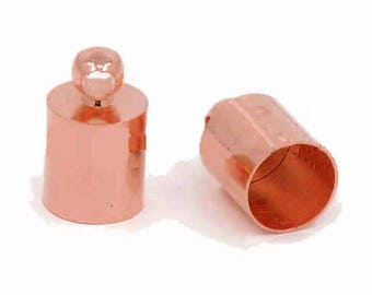 10 round cords ends x 6mm ROSE gold (pink gold)