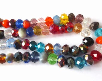 10 x beads glass Rondelle faceted 8x6mm assortment