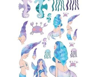Mermaid Waves Stickers