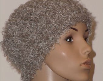 Knitted warm fluffy CAP in light brown