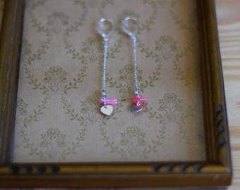 David 925 Sterling Silver earrings, heart & sea bamboo