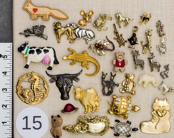 Animal Brooch Lot Dog Cat Cow Noah's Ark Turtle Novelty Broaches Vintage To Now Parts 15