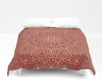 Gold Mandala On Cherry Red Duvet Cover, Bed Cover, Bohemian Duvet Cover, Boho Bedding, Bedroom Decor, Gold Duvet, Comforter, Mandala Duvet