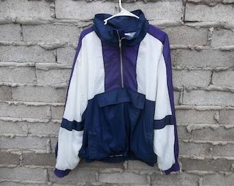 Vintage Jacket Windbreaker XL Oversized Fresh Prince Track Color Block Geo Hip Hop Dope Dandy Surfer Skater 1990s 80s Front Pocket Side