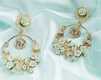 Statement earrings mint gold earrings of romantic chandeliers