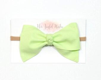 Baby Headband - Baby Girl Headband - Green Bow - Green Baby Bow - Baby Girl Headband - Baby Girl Headband