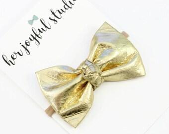Gold Bow Headband - Hair Bows - Girl Headband - Baby Girl Headband - Baby Headband - Baby Hair Bows - Bow Headband