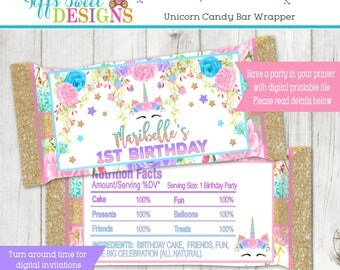 Unicorn Birthday Party Candy Bar Wrapper Personalized Printable