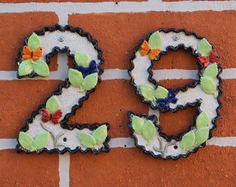 Ceramic House Numbers - 1 - 9, Door sign numerals